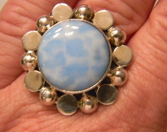 Very Fun Fashion Sterling Silver 925 Blue And White Artsy Flower Ring Size 9, 13.7 Grams #3291