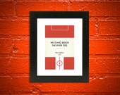 "Book Clubs: ""Middlesbrough"" A4 Football Print in red."