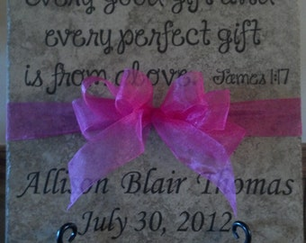 Custom Personalized Ceramic Tile for Baby Gift