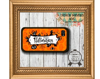 Happy Halloween iPhone Case, Fall iPhone Case, Orange iPhone Case, iPhone 4, 4s, iPhone 5, 5s, 5c, iPhone 6, 6 Plus, SE, iPhone 7, 7 Plus