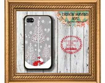Forest Santa iPhone Case, Christmas iPhone Case, Plastic Phone Case, iPhone 4, 4s, iPhone 5, 5s, 5c, iPhone 6, Phone Case, Phone Cover