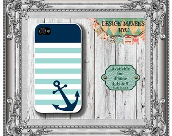 Preppy Anchor iPhone Case, Nautical iPhone Case, Spring Phone Case, iPhone 7, 7 Plus, iPhone 6, 6S, 6 Plus, SE, iPhone 5, 5s, 5c, 4, 4s