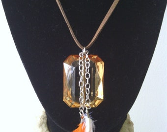 Orange Crystal Feather