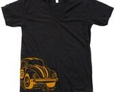 Mens tshirt Unisex Beetle Racecar V Neck Tee Custom Hand Screen Print American Apparel Available: S, M, L, XL, XXL