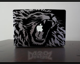 Lion    - Macbook Air, Macbook Pro,  Macbook decals, sticker ,Vinyl Mac decals ,Apple Mac Decal, Laptop, iPad