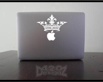 Crown    - Macbook Air, Macbook Pro,  Macbook decals, sticker ,Vinyl Mac decals ,Apple Mac Decal, Laptop, iPad