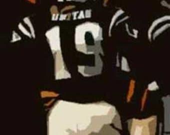 Rare Johnny Unitas Baltimore Colts Art