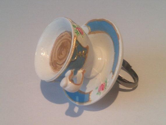 Adjustable Teacup Ring - Vintage Style Resin  Accessory - Minatures, Alice in Wonderland Jewellery