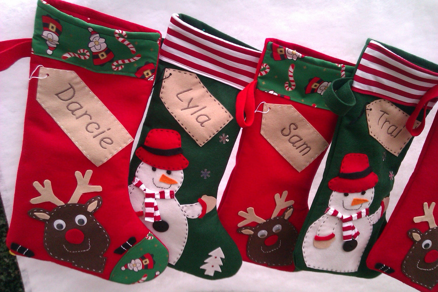Personalised Christmas Stocking Santa-Green Snowman Red