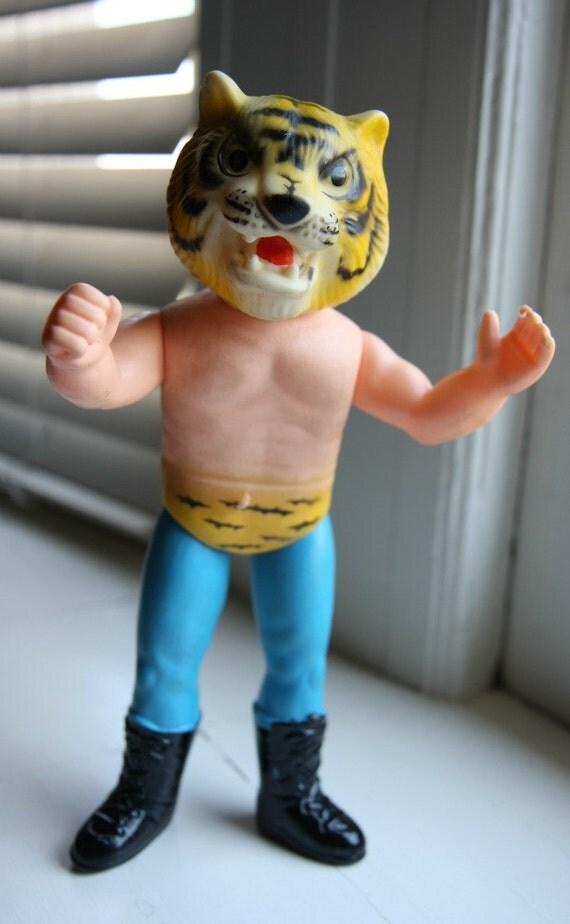 vintage japanese vinyl figure - wrestler guy with lion mask