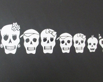 Day of the dead art skull family car stickers. Choose any 9 in any combination, grandpa & grandma included. ##25-35