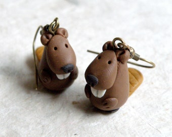 Autumn Forest Beaver earrings, made from Polymer clay.