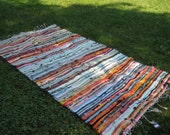 Orange Stripe Handwoven Rag Rug