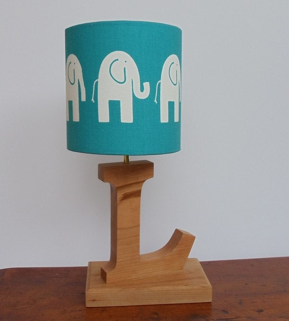 handmade small elephant drum lamp shade turquoise with white. Black Bedroom Furniture Sets. Home Design Ideas