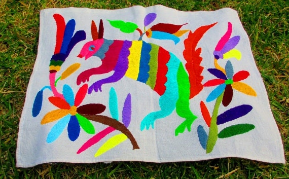 Mexican Otomi fabric, tribal fabric, embroidered, colorful Otomi embroidery from Mexico, Otomi Textiles