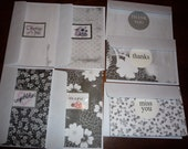 Six handcrafted cards. Thank you, Thinking of you, Congratulations