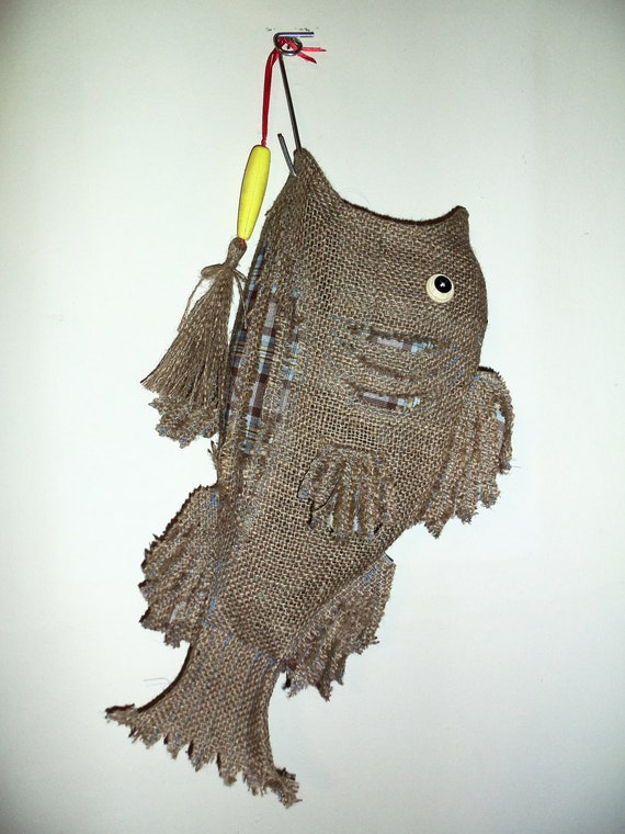 Burlap christmas stocking fish by southerncomfortable on etsy for Fish christmas stocking
