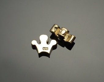 6007011 / Crown / Vermeil, 16k Gold Plated  925 Sterling Silver Connector 6.5mm x 5.2mm / 0.3g / 1pcs
