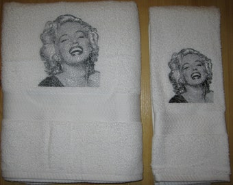 Bath & hand towel set with photo stitch Marilyn Monroe