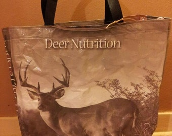 Recycled Feed Bag Tote, reusable tote bag, grocery tote, recycled shopping bags, reusable grocery bag, recycled tote bags  Grey Deer Feed