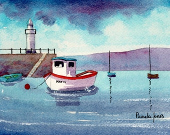 Watercolour Print, St Ives Harbour, Cornwall, Gift Idea, Art And Collectibles