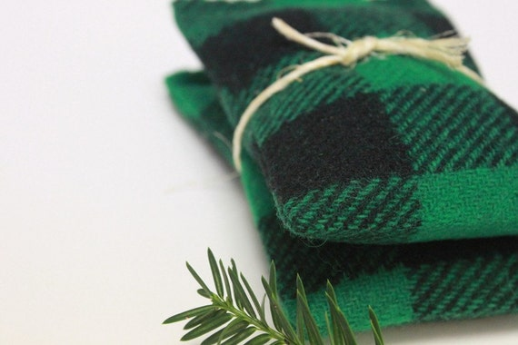 Balsam Fir Sachets Men's Green Black Plaid Handmade Wool Drawer Sachets Christmas Holidays Winter