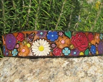 Hand Painted Tooled Leather Headband - Flowers