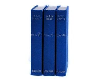 Sinclair Lewis Books, 1920, 1929, 1934, Vintage Books, Vintage Decor, Dodsworth 1929, Main Street 1920, Work of Art 1934