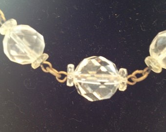 VINTAGE CIRCA 1930 Art Deco Cut Lead Crystal Beads on Gold Toned Chain