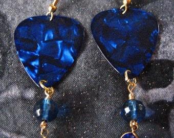 Blue Jeweled Guitar Pick Earrings