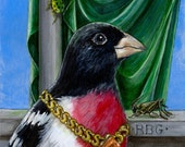 Renaissance Rose Breasted Grosbeak Bird Portrait fine art print