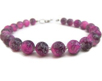 Pink and Black Beaded Bracelet  - Marbled Glass Beads - Homemade Jewelry - Handmade Jewelry