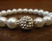 Simple stylish pearl and shamballa beaded bracelet and blue and White beaded bracelet