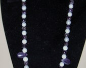 GLASS PEARL & AMETHYST Necklace 20 inch