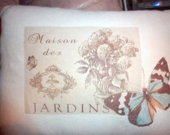 Decorative Pillow Cover  Linen Pillow Cover - Jardins label - pale Aqua Butterfly -12x16 - French country Decor