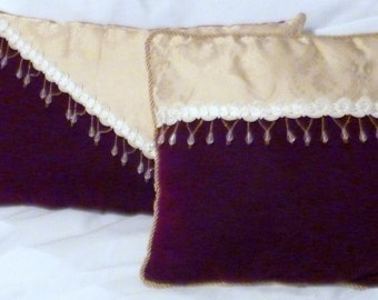 Velvet pillows -Burgundy Velvet - Decorative Pillow -14x14 Jewel Tone Pillows - stuffed ready to use