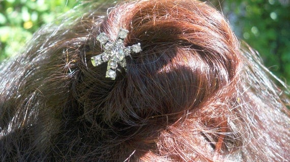 Rhinestones Star Hair Pin -  Vintage French Pin- Silver tone Pin- Hair Jewel  Pin- Vintage Hair accessory- Diamonds color