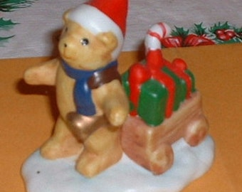 Christmas Teddy Bear Figurine pulling a wagon China Figurine