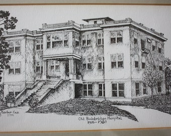 Old Bainbridge Hospital inking by Mary Barber Cox: Bainbridge Ga.