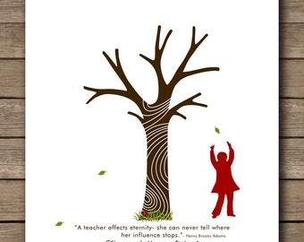 "Personalized School Teachers Appreciation Gift, Fingerprint Tree, kindergarten gift, Print Art 8""x10"""