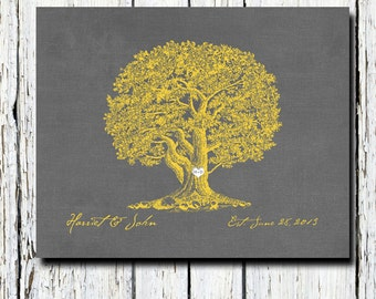 Old Oak Tree custom gift, personalized wedding anniversary gift, charcoal grey gray yellow colors, poster 8 x 10