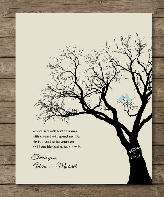 Special Wedding Gifts From Parents : Parents of the Groom Gift, Personalized Wedding Tree Print, Wedding ...