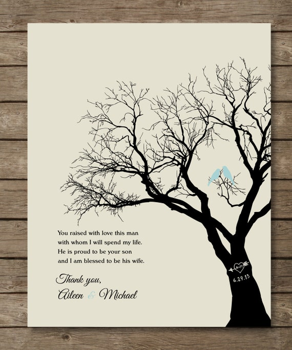 Wedding Gift For Parents Etsy : Parents of the Groom Gift, Personalized Wedding Tree Print, Wedding ...