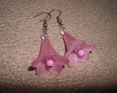 RESERVED pink lily flower earrings