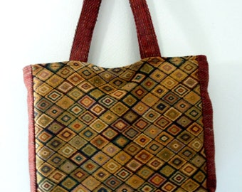 Brown  tapesty  Shopper. Red-Brown-Yellow-Green Tapestry medium    shoulder  tote.14x 12 x3.spring-summer  bag.laptop bag.