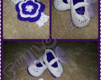 Crochet MaryJane Slippers with Matching Hair Flower Clip and Headband