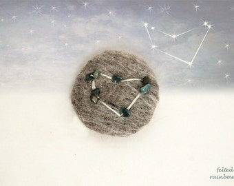 Gifts for Capricorn, Needle felted brooch, Personalised jewelry, Capricorn Zodiac, Capricorn brooch, Tourmaline stones, Grey brooch