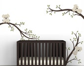 Children's Wall Decal Baby Wall Sticker Decor Beige Dark Brown Olive Green - Koala Tree Branches by LittleLion Studio
