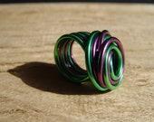 statement ring, swirled pop coloured aluminum ring - green,purple