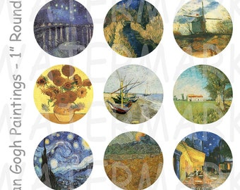 99 Cent Sale - Vincent Van Gogh Paintings - 4 x 6 Digital Collage Sheet  - 1 inch Round Circles - INSTANT DOWNLOAD